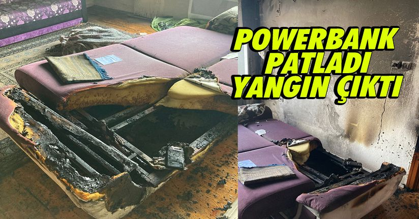 Şarja Takılı Bırakılan Powerbank Patladı, Yangın Çıktı