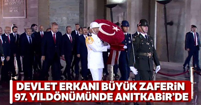 Devlet erkanı Büyük Zafer'in 97. yıl dönümünde Anıtkabir'de