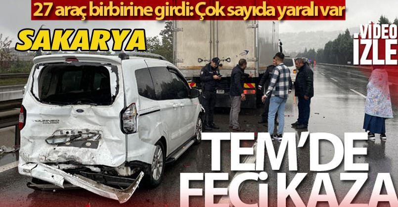 TEM'de 27 aracın karıştığı kazada 17 kişi yaralandı