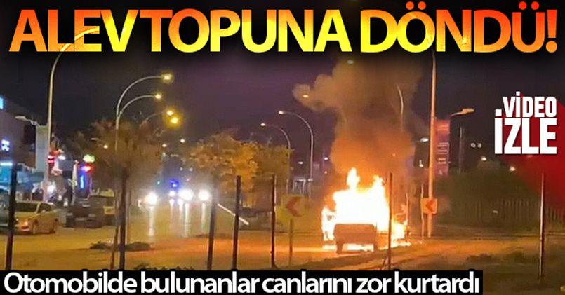 Bursa'da seyir halindeki otomobil alev topuna döndü