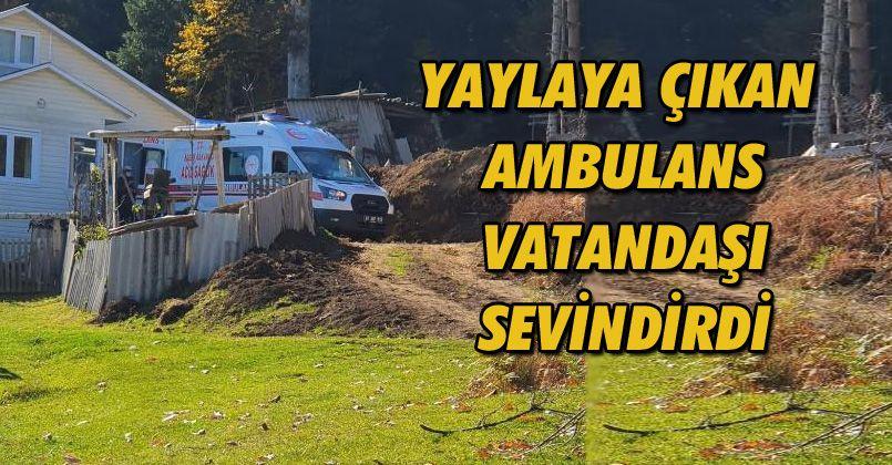 Yaylaya çıkan ambulans vatandaşı sevindirdi
