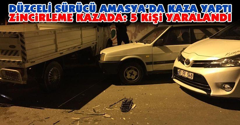 Amasya'da zincirleme trafik kazası : 5 yaralı