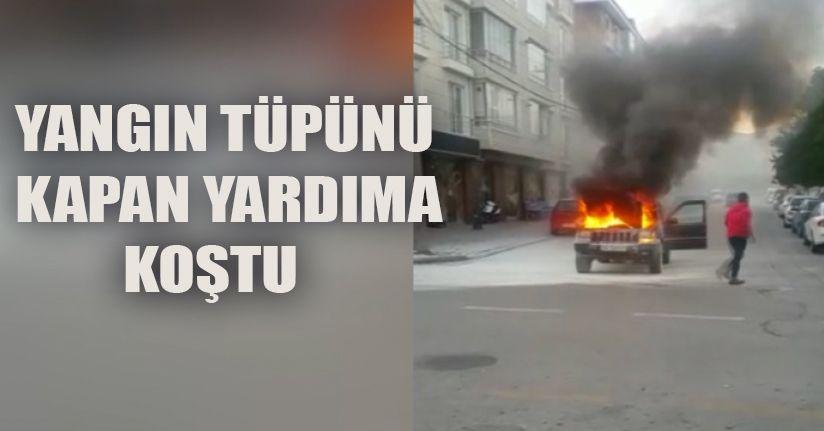 Yangın Tüpünü Kapan Aracı Söndürmeye Koştu