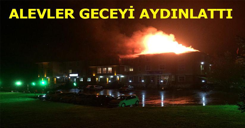 Bolu'da, Polis Evi'nin çatısı alev alev yandı