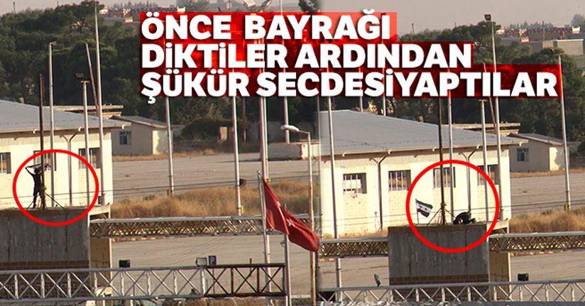Önce SMO bayrağını diktiler ardından şükür secdesi yaptılar