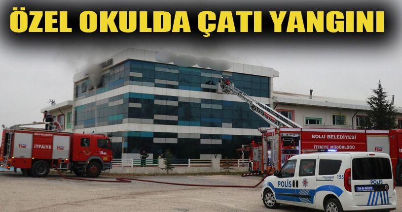 Yangın çıkan özel okulda hasar oluştu