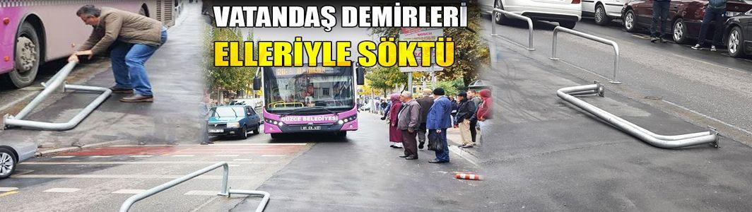 Otobüs Cadde Üzerinde Mahsur Kaldı